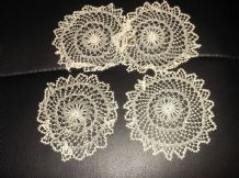 "4 X ANTIQUE TABLE PROTECTORS FINE CREAM THREAD HAND CROCHET 4.25"" DIA"